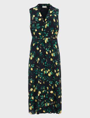 Lemon Print V-Neck Dress