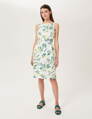 Pure Linen Printed Shift Dress
