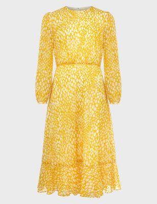 Textured Polka Dot Midi Waisted Dress