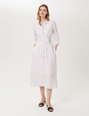 Pure Linen Striped Tie Front Shirt Dress