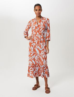 Floral V-Neck Belted Shirt Dress