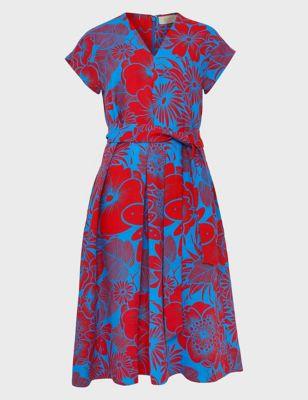 Pure Linen Floral V-Neck Belted Shift Dress