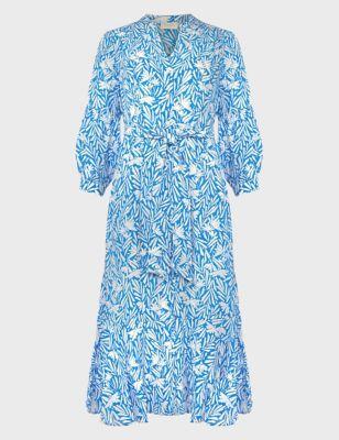 Floral V-Neck Belted Tiered Dress