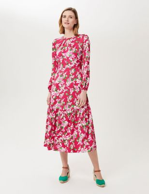 Floral Round Neck Midi Waisted Dress