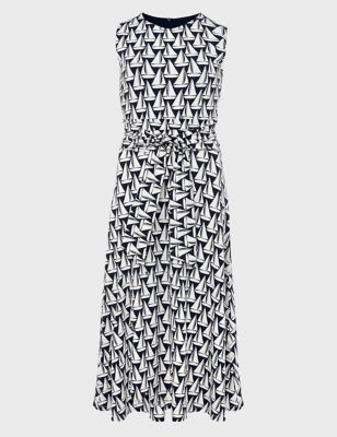 Boat Print Tie Front Midi Waisted Dress