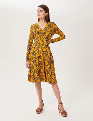 Jersey Printed V-Neck Knee Length Dress