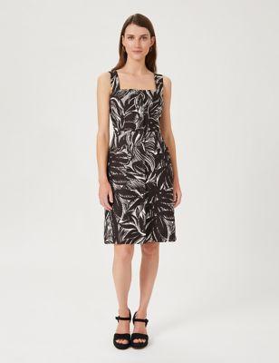 Pure Linen Printed Square Neck Shift Dress