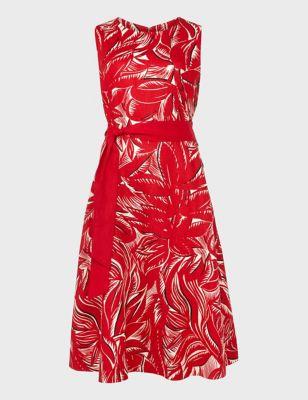 Pure Linen Floral Midi Skater Dress