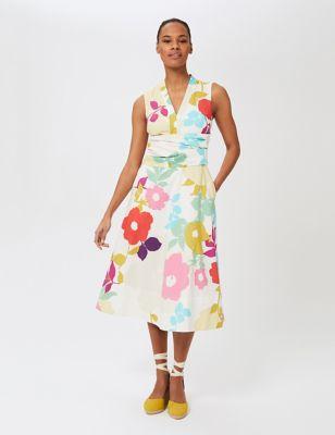 Cotton Floral V-Neck Midi Skater Dress