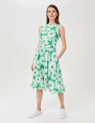 Pure Linen Floral Waisted Midi Skater Dress