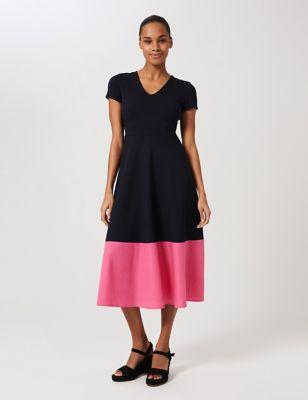 Jersey Colour Block V-Neck Skater Dress