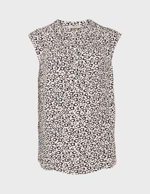Leopard Print Collarless Sleeveless Blouse