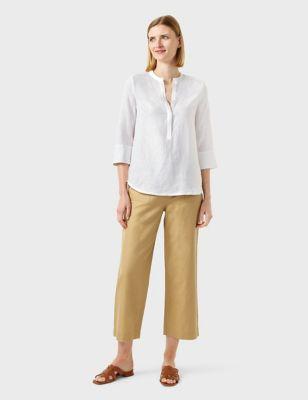 Pure Linen Longline 3/4 Sleeve Blouse