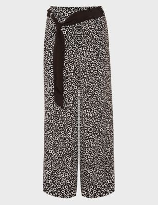 Animal Print Wide Leg Culottes