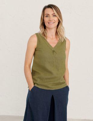 Pure Linen V-Neck Sleeveless Vest Top