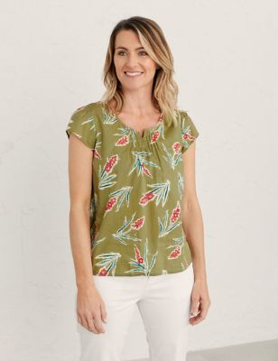 Pure Cotton Floral Short Sleeve Top