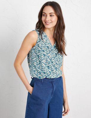 Cotton Leaf Print Vest Top