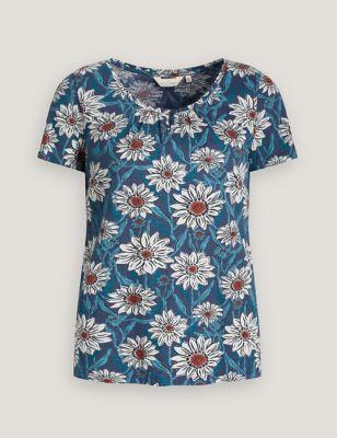 Organic Cotton Print Scoop Neck T-Shirt
