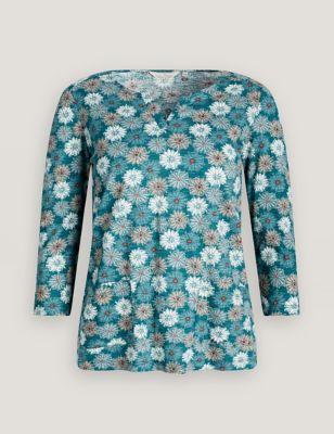 Organic Cotton Floral Notch Neck Top