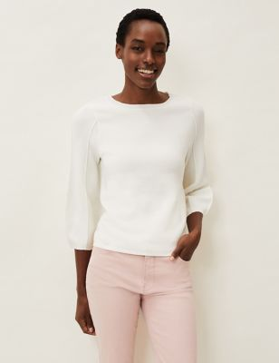 Round Neck Puff Sleeve Relaxed Jumper