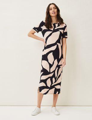 Abstract Print Round Neck Midi Shift Dress