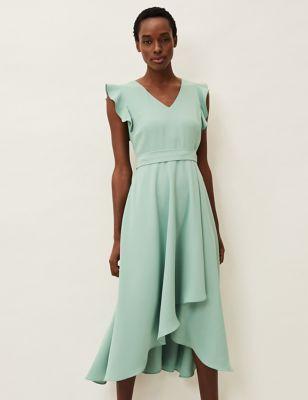 V-Neck Frill Detail Dress