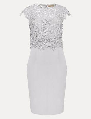 Floral Lace Round Neck Knee Length Dress