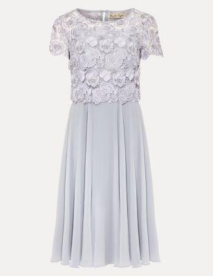 Chiffon Lace Knee Length Swing Dress
