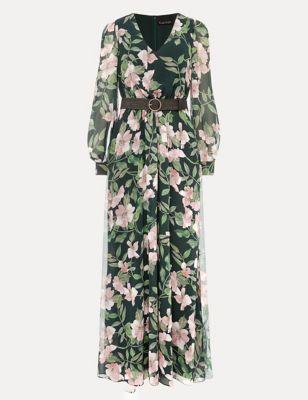 Floral V-Neck Belted Maxi Dress
