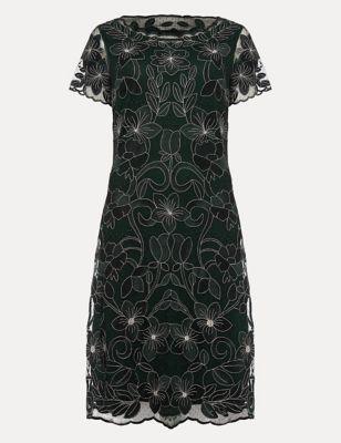 Floral Embroidered Knee Length Shift Dress