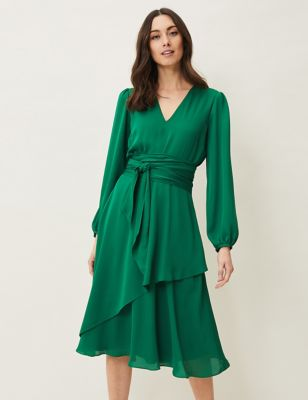 Frill V-Neck Waisted Dress
