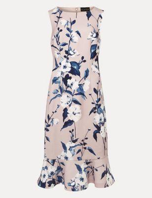 Floral Textured Peplum Dress