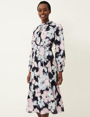 Floral High Neck Tie Front Shift Dress