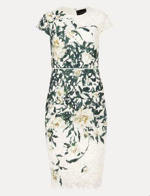Floral Lace Round Neck Dress