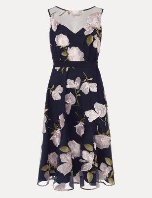 Embroidered Floral Skater Dress