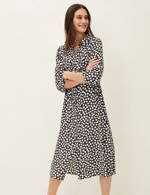 Leaf Print Midi Shirt Dress