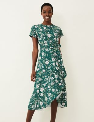 Floral Round Neck Belted Midi Dress