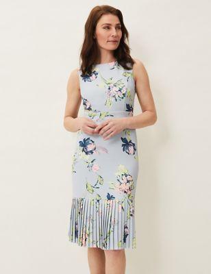 Floral Slash Neck Fitted Dress