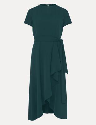 Round Neck Belted Knee Length Shift Dress