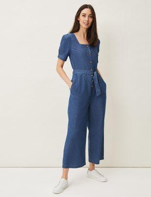 Denim Belted Short Sleeve Cropped Jumpsuit