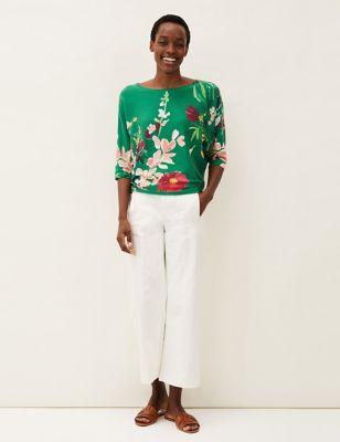 Pure Cotton Floral Slash Neck Jumper