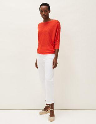 Linen Lace Trim Slash Neck 3/4 Sleeve Top