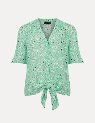 Floral V-Neck Tie Front Short Sleeve Blouse