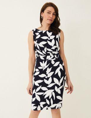 Leaf Print Knee Length Dress