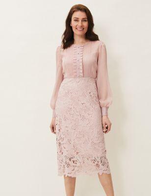 Chiffon Lace Knee Length Dress