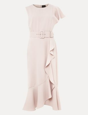 Frill Detail Belted Midi Waisted Dress