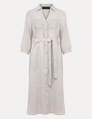 Pure Linen Belted Knee Length Shirt Dress