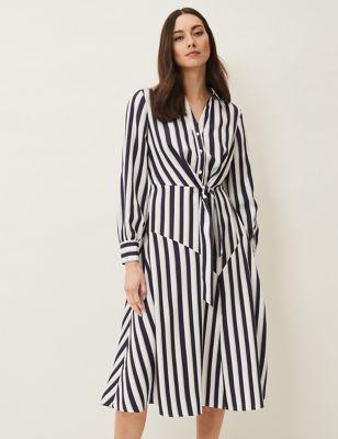 Striped Knee Length Shirt Dress