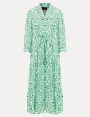 Floral V-Neck Tie Front Midaxi Dress