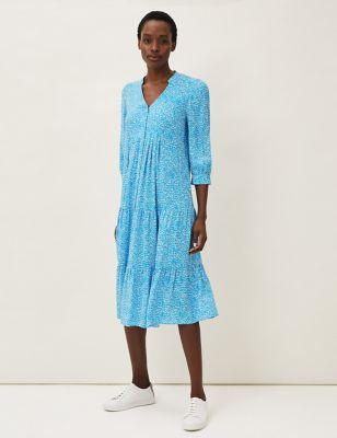 Printed V-Neck Midaxi Swing Dress